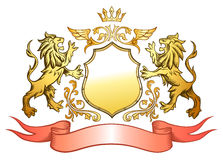Golden Lions Shield and Crown Insignia Royalty Free Stock Photography