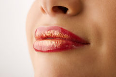 Golden lips Royalty Free Stock Photography