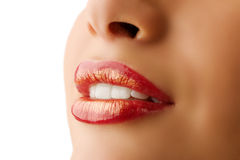 Golden lips close up. Closeup of woman mouth with red and golden colored lips Stock Images