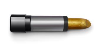 Golden lipstick close-up. Golden lipstick isolated on white background Stock Image