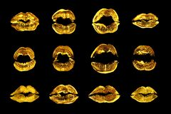 Free Golden Lipstick Kiss Print Set Black Background Isolated Close Up, Yellow Sexy Lips Mark Makeup Collection, Gold Female Kisses Royalty Free Stock Images - 183499239