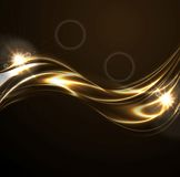Golden liquid smooth waves on black background Stock Images