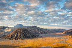 Golden Lit Plain of Mount Bromo Stock Images