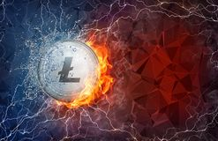 Gold Litecoin coin hard fork in fire flame, lightning and water splashes. Golden Litecoin coin in fire flame, water splashes and lightning. Litecoin blockchain Stock Images