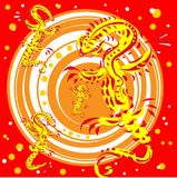 Golden lizards on a red background Stock Images