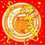 Golden lizards on a red background. Golden Lizards on a disc rotating on a red background Stock Images