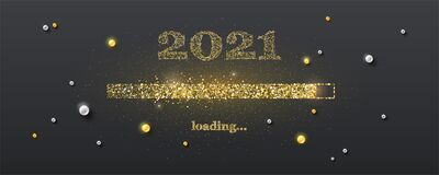 Golden Loading Bar With Transition To 2021 New Year On Black Background. Happy New Year And Christmas Card. Gleaming Royalty Free Stock Image