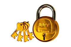 Golden lock and key. With isolated background Stock Images