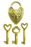 Golden lock and keys Stock Images