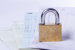 Golden lock on the passbook Stock Image
