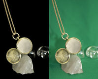 Golden locket with chain Stock Images