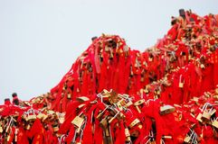 Golden locks at holy Mount Hua Shan, China Royalty Free Stock Photos