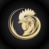 Golden logo symbol with rooster head Stock Image