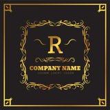 Golden Logo template Elegant flourishes calligraphic. Monogram R letter emblem. Vintage ornament lines. Luxury Business. Sign, identity for Restaurant, Fashion royalty free illustration