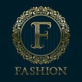 Golden logo template for fashion boutique Royalty Free Stock Photography