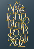 Golden lombard alphabet. Alphabet composition with golden lombard hand-drawn letters Royalty Free Stock Image