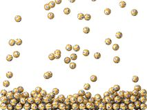 Golden lottery balls rain Stock Image