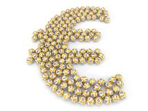 Golden lottery balls stack in euro sign shape. 3d illustration Royalty Free Stock Photography