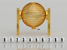 Golden lottery cage with white numbered balls Stock Images