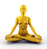 Golden Lotus. 3D illustration of golden woman statue meditating in the Lotus position Stock Photography