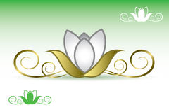 Golden lotus banner Stock Photos