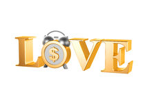 Golden love dollar clock Stock Photo