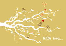 Golden 'With love' greeting card with birds vector illustration