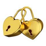 Golden love padlock Stock Images