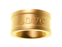 Golden love ring Stock Photos