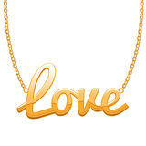 Golden LOVE word pendant on chain. Royalty Free Stock Photography