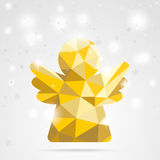 Golden Low Poly Angel Snowflakes Bokeh Stock Images