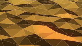 Golden low poly waving surface as lovely background motion design stock video