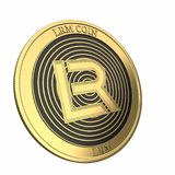 Golden LRM Coin LRM cryptocurrency coin. stock photo
