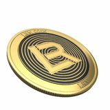 Golden LRM Coin LRM cryptocurrency coin. stock image