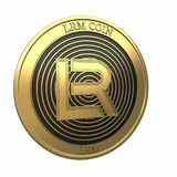 Golden LRM Coin LRM cryptocurrency coin. stock images