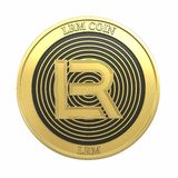 Golden LRM Coin LRM cryptocurrency coin. royalty free stock photo