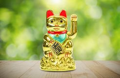 Golden lucky cat on wooden table on blurred green nature bokeh background stock images
