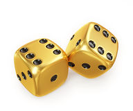 Golden lucky dice, isolated on white background Stock Photos