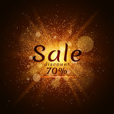 Golden luminous dust on a black background. Sale of 70 percent. Cover sale. Vector illustration. EPS 10 Royalty Free Stock Photos