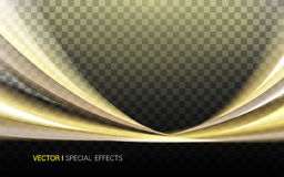 Golden lustrous wavy effect. On two sides, 3d illustration transparent background Stock Photo