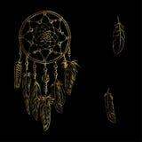 Golden luxury ornate Dreamcatcher with feathers, gemstones. Astrology, spirituality, magic symbol. Ethnic tribal element. Royalty Free Stock Image