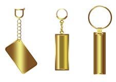 Golden Luxury Blank Key Chain Set Stock Photos