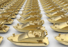 Golden luxury boats. 3D render illustration of multiple golden luxury boats. The composition is isolated on a white background with shadows Stock Image