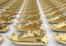 Golden luxury boats Stock Image