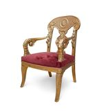 Golden luxury chair. Isolated Royalty Free Stock Image