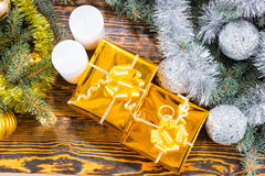 Golden luxury Christmas gifts Royalty Free Stock Image