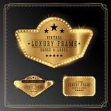 Golden Luxury Frame with Bulb Light Border Royalty Free Stock Photo