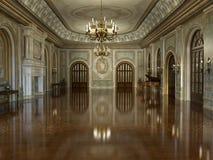 Golden Luxury Grand Hall Interior vector illustration