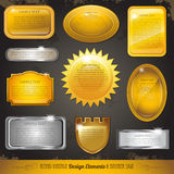 Golden luxury labels and banners collection set Royalty Free Stock Photography