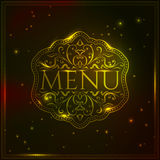 Golden luxury magic menu design template with Royalty Free Stock Photography